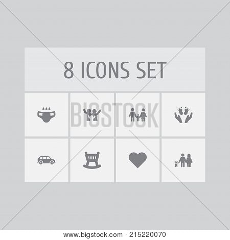 Collection Of Automobile, Cheerful, Cot And Other Elements.  Set Of 8 People Icons Set.