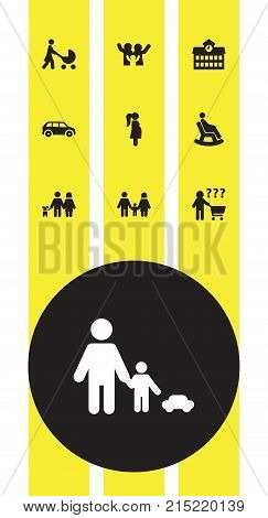 Collection Of Automobile, Perambulator, Walking And Other Elements.  Set Of 10 Relatives Icons Set.