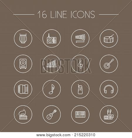 Collection Of Guitar, Turntable, Harmonica And Other Elements.  Set Of 16 Song Outline Icons Set.