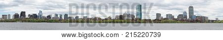 panorama view of Boston skyline in spring season from Charles river