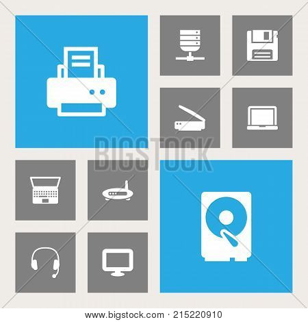 Collection Of Laptop, Router, Peripheral And Other Elements.  Set Of 10 Laptop Icons Set.
