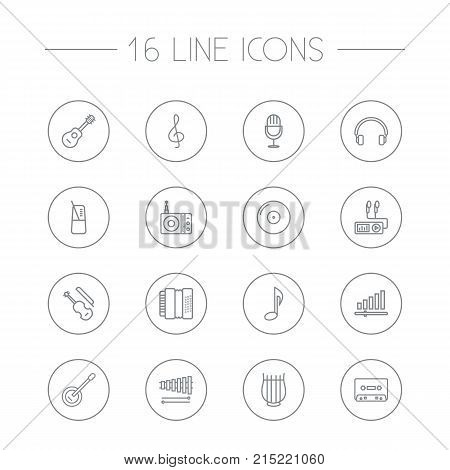 Collection Of Stringed, Wooden Block, Acoustic And Other Elements.  Set Of 16 Melody Outline Icons Set.