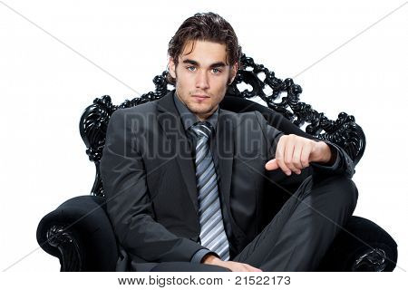 caucasian businessman sitting on chair