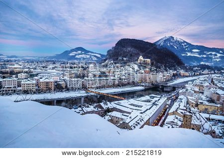 Panorama Salzburg During Sunset With Christmas Lights In Winter, Austria