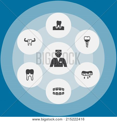 Collection Of Dentist, Brace, Stabilize And Other Elements.  Set Of 7 Teeth Icons Set.