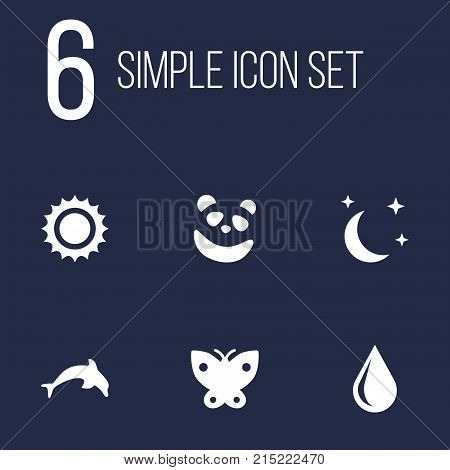 Collection Of Grampu, Blob, Bear And Other Elements.  Set Of 6 Bio Icons Set.