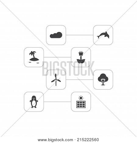 Collection Of Tree, Overcast, Wind Energy And Other Elements.  Set Of 8 Bio Icons Set.