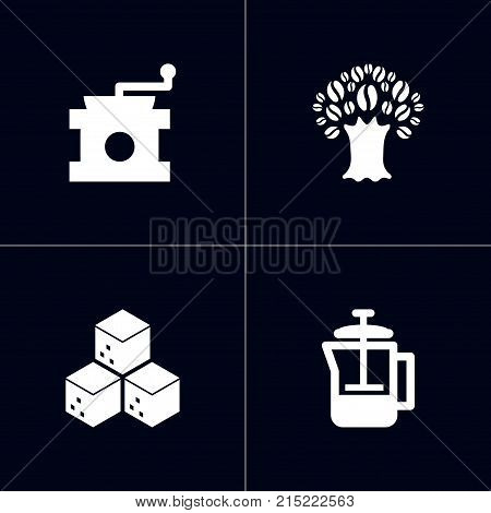 Collection Of Sweetener, Coffee Mill, French Press And Other Elements.  Set Of 4 Beverage Icons Set.