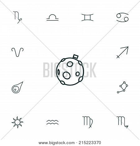 Collection Of Libra, Aries, Gemini And Other Elements.  Set Of 13 Astronomy Outline Icons Set.
