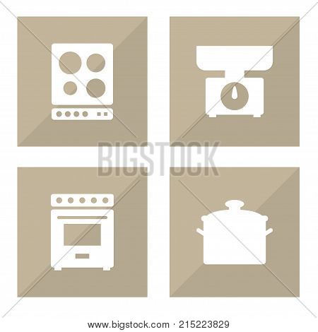 Collection Of Furnace, Pan, Cooker And Other Elements.  Set Of 4 Cooking Icons Set.