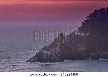 Beam And Purple Sky At Heceta