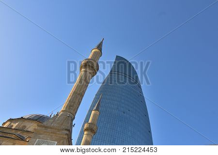 BakuAzerbaijan.29 October 2017The Shahid Mosque-mosque located in the capital of Azerbaijan in the city of Baku in the Shahid Alley. The mosque was built by Turkey