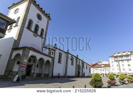 BRAGANCA, PORTUGAL - September 20, 2017: The Old Cathedral of the Holy Name of Jesus buil in the sixteenth century and its Renaisance portal.