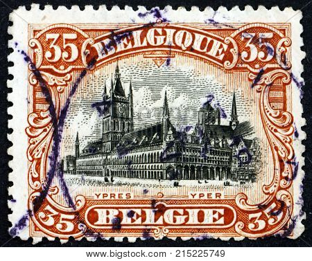 BELGIUM - CIRCA 1915: a stamp printed in the Belgium shows Cloth Hall of Ypres circa 1915