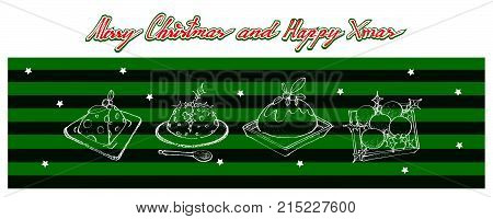 Illustration Hand Drawn Sketch of A Traditional Christmas Pudding with White Sauce and Holly for Christmas Celebration.