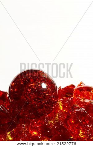 A red crackle marble on broken marble pieces. poster