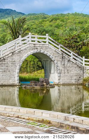 The bridge across the pond in Chinese Garden