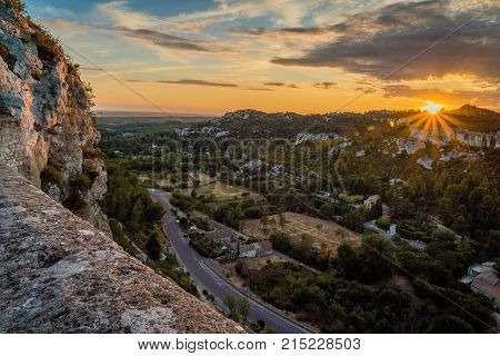 Sunset over Baux-de-Provence in France in the summer
