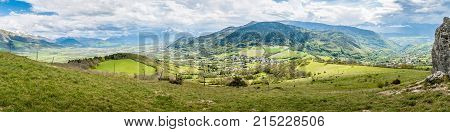 Panorama over Pierre-Chatel and its mountains in Isere in France