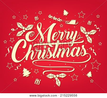 Chirstmas Simple Typography Greeting Poster on Red Background with Stars, Trees, Gifts and Santa Claus for Christmas Holiday Season. Vector Illustration
