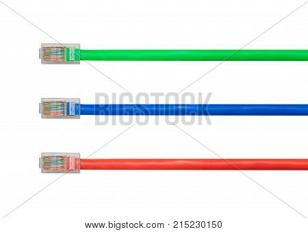 Different cat 5e ethernet cables to illustrate the priorization of data on the internet in Net Neutrality