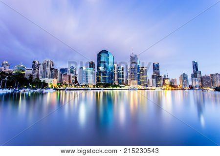 Brisbane City light reflections in Queensland, Australia
