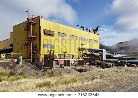 KAMCHATKA RUSSIA - SEP 17 2016: Separator and pumping station of Mutnovskaya Geothermal Power Station (Mutnovskaya GeoPP-1) Geotherm JSC (RusHydro) using geothermal energy to produce electricity.