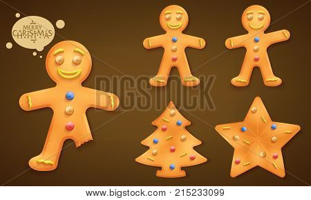 3D Smiling Brown  Gingerbread Man, Christmas Tree and Star Cookies Set for Children this Coming Christmas Holiday Season in Brown Vignette Background. Vector Illustration