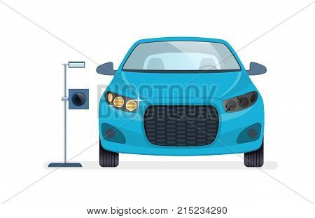 Car repair. Car auto service. Mechanic repairs, diagnostics car, equipment in auto service. Repair, diagnostics and replacement of headlights, lighting, parking lights. Vector illustration.