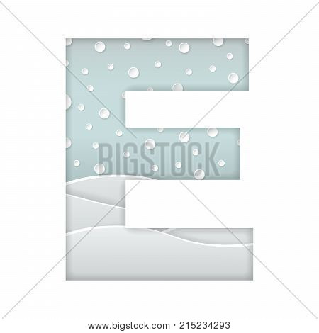 color vector illustration of paper art cut letter E with winter landscape with multi layers and shadows effect isolated on white background