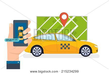 Hand holds smartphone. Taxi ordering service and calling. Online taxi order, call by phone, mobile application for ordering taxi. Taxi online, navigation gps, cityscape, map. Vector illustration.