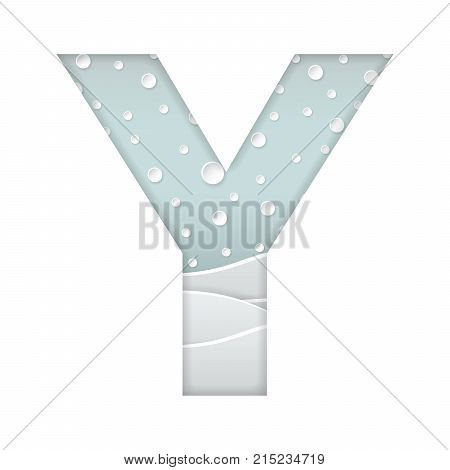 color vector illustration of paper art cut letter Y with winter landscape with multi layers and shadows effect isolated on white background