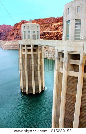 Arizona Intake Towers at Hoover Dam in the southwestern United States