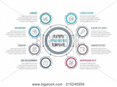 8 Steps - circle infographic template, workflow or process diagram, vector eps10 illustration