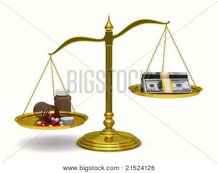 Medicines and money on scales. Isolated 3D image
