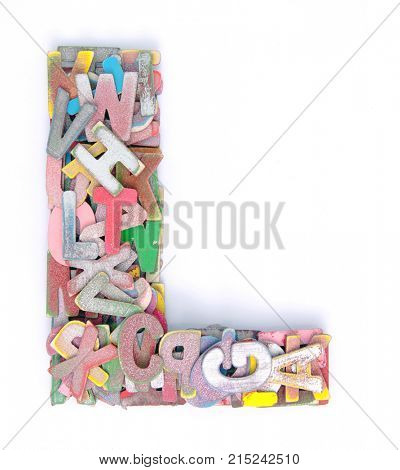 lots of small wooden letters to make up the letter L