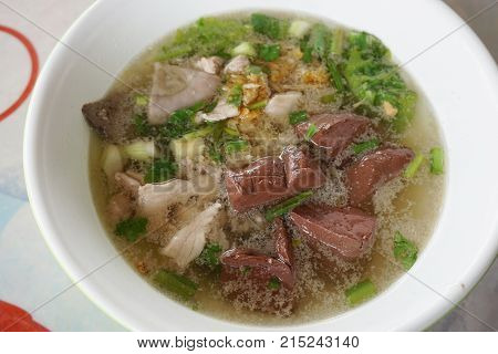 thai style blood jelly with offal soup - Thailand food