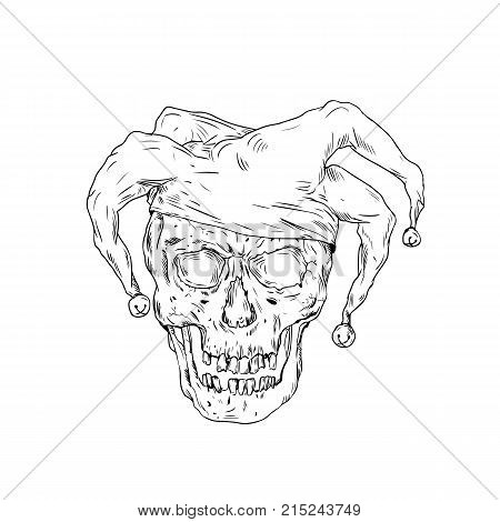 Drawing sketch style illustration skull of a medieval  jester, court jester,professional joker or fool, an entertainer during the medieval and Renaissance era, on isolated background. poster