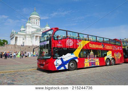 HELSINKI, FINLAND - JUNE 11, 2017: Sightseeing bus of the