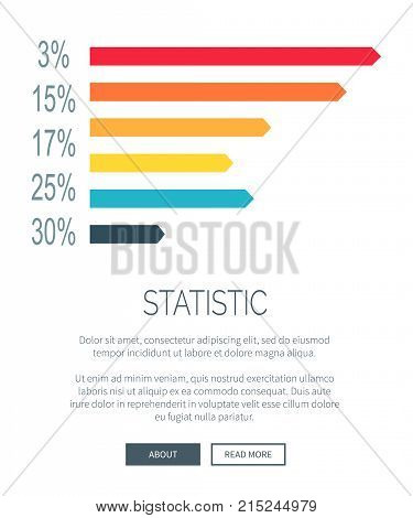 Statistic presentation design with colorful horizontal bar graph with percentage ratio. Vector illustration of data with room for elements of web page
