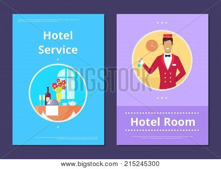 Comfortable hotel room service informative Internet page with tasty dinner, flowers in vase and receptionist in uniform vector illustrations.