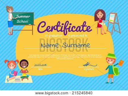 Certificate of graduation poster with students. Vector illustration of school boys and girls with books and backpacks teacher near blackboard and place for name
