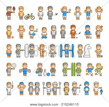 Vector sports set of pixel people on white background.