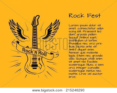 Rock and roll fest colorful poster with electric guitar surrounded by wings. Vector illustration of musical instrument on yellow background
