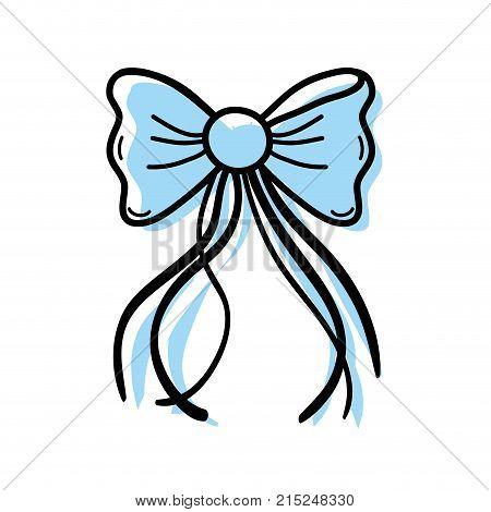 color ribbon bow with slats decoration design vector illustration
