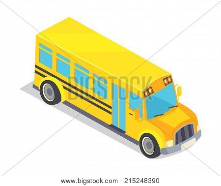 Yellow school bus vector illustration isolated on white. Public transport vehicle for transportation pupils and students to educational establishments