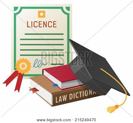 Licence with golden stamp, pile of books on law and square academic hat with tassel isolated vector illustration on white background.