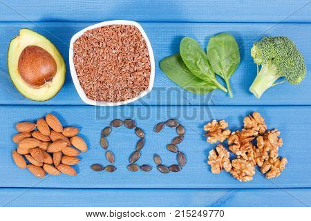 Ingredients Containing Omega 3 Acids, Unsaturated Fats And Fiber, Healthy Nutrition And Acid Diet Co