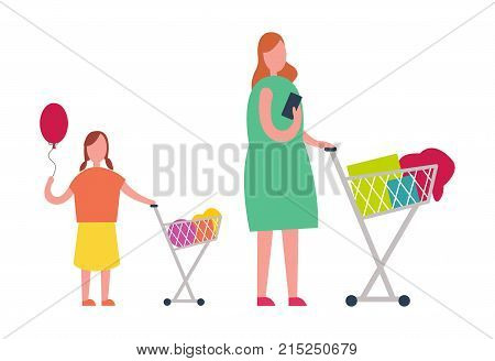 Redhead mother and teenage daughter holding red balloon doing shopping isolated vector illustration on white. Female customers pushing loaded carts
