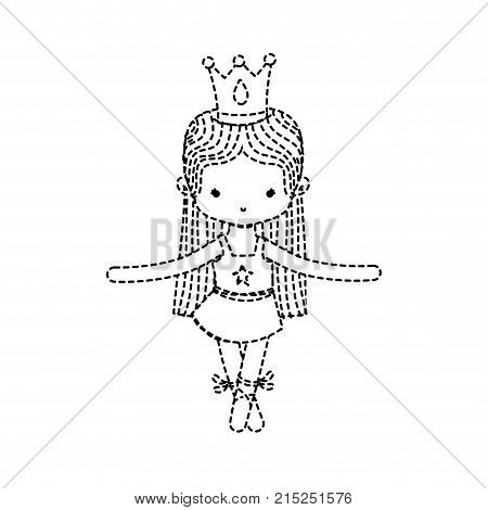 dotted shape girl practice ballet with profesional clothes and straight hair vector illustration
